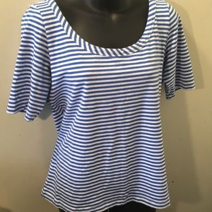 Mark. Womans 3/4 Sleeve Blue&White Striped Top